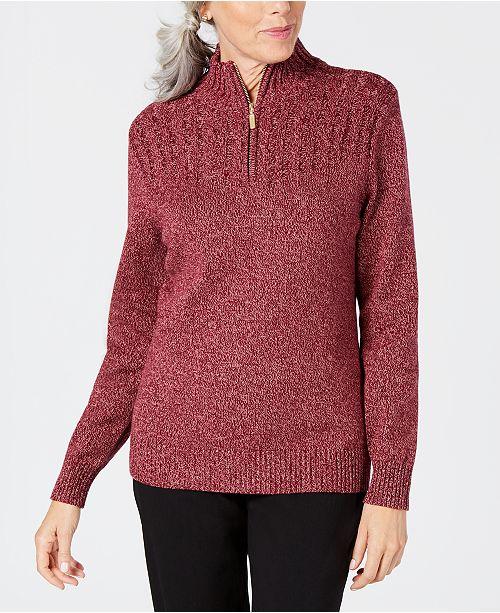 Karen Scott Petite Cotton Half-Zip Sweater, Created for Macy's
