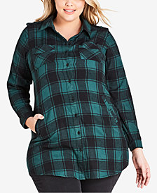 City Chic Trendy Plus Size Check Lover Cotton Plaid Tunic Shirt