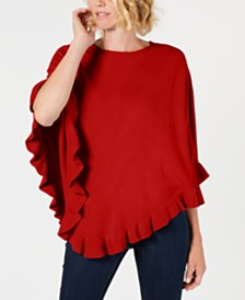 Karen Scott Asymmetric Ruffled Poncho, Created for Macy's