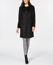 Anne Klein Single-Breasted Club-Collar Coat
