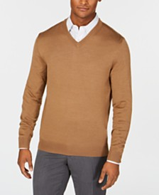 Club Room Men's Regular-Fit Solid V-Neck Merino Sweater, Created for Macy's