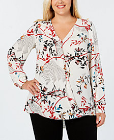 Alfani Plus Size Printed Surplice Blouse, Created for Macy's