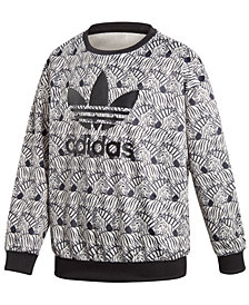adidas Big Girls Originals Zebra-Print Velour Sweatshirt