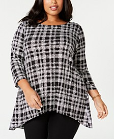 Plus Size Printed Woven-Back Top, Created for Macy's