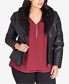City Chic Trendy Plus Size Faux-Fur-Collar Moto Jacket