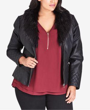 CITY CHIC Trendy Plus Size Faux-Fur-Collar Moto Jacket in Black