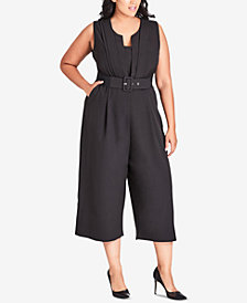 City Chic Trendy Plus Size Veronica Belted Jumpsuit