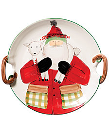VIETRI Old St. Nick Handled Round Platter with Lamb