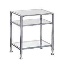 CLOSEOUT! Metal & Glass Side Table, Quick Ship