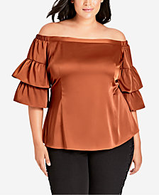 City Chic Trendy Plus Size Charming Off-The-Shoulder Top