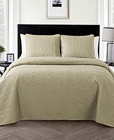 VCNY Home Caroline Embossed Floral 3-Pc. King Quilt Set