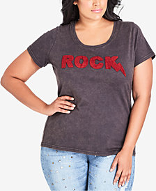 City Chic Trendy Plus Size Cotton Rock Graphic-Print T-Shirt