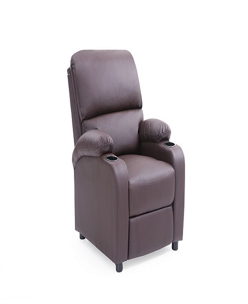 Recliner with 2 Cup Holders in Black