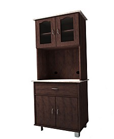 Kitchen Cabinet with Top and Bottom Enclosed Cabinet Space, 1-Drawer, plus Large Open Space for Microwave in Chocolate-Grey