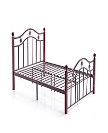 Complete Bronze Metal Bed with Headboard, Footboard, Slats and Rails in Queen Size