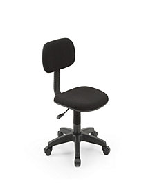 Armless, Low-Back, Adjustable Height, Swiveling Task Chair with Padded Back and Seat in Black