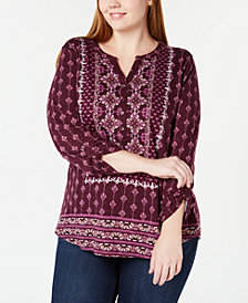 Style & Co Petite Mixed-Print Split-Neckline Top, Created for Macy's