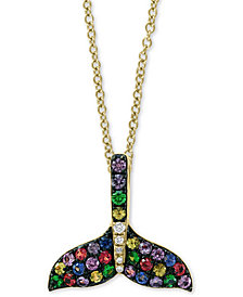 "EFFY® Multi-Sapphire (3/4 ct. t.w.) & Diamond Accent Mermaid Tail 18"" Pendant Necklace in 14k Gold"