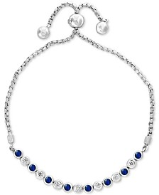 EFFY® Sapphire (1/2 ct. t.w.) & Diamond (1/4 ct. t.w.) Bolo Bracelet in 14k White Gold