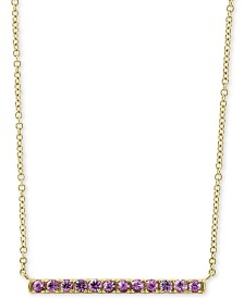 "EFFY® Pink Sapphire Horizontal Bar 18"" Pendant Necklace (5/8 ct. t.w.) in 14k Gold"