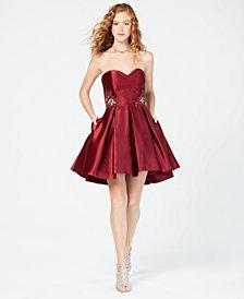Blondie Nites Juniors' L'Amour Strapless Fit & Flare Dress