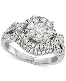 Diamond Cluster Engagement Ring (1-1/5 ct. t.w.) in 14k White Gold