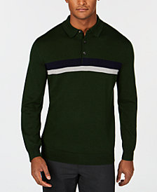 Club Room Men's Merino Stripe Polo Sweater, Created for Macy's