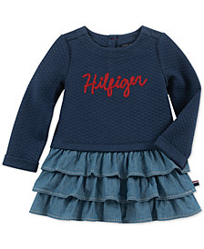 Tommy Hilfiger Little Girls Navy Denim Ruffle Dress