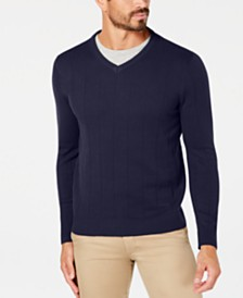 Club Room Men's Regular-Fit Knit Stripe V-Neck Sweater, Created for Macy's