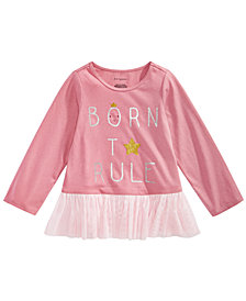 First Impressions Baby Girls Born To Rule Graphic Peplum Cotton Shirt, Created for Macy's
