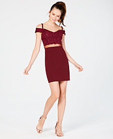 Teeze Me Juniors' Sequined Lace Illusion Dress