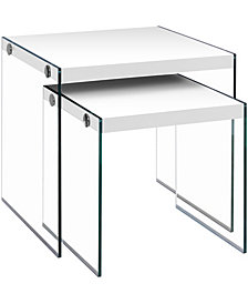Monarch Specialties Tempered Glass 2 Pcs  Nesting Table in Glossy White