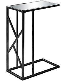 Monarch Specialties Mirror Top Accent Edgeside Table in Black Nickel