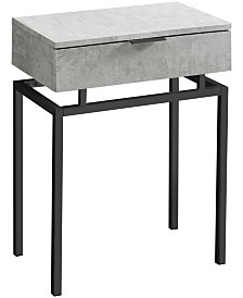 "Monarch Specialties Black Nickel Metal 24""H Side Accent Table in Grey Cement"