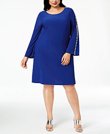 MSK Plus Size Embellished Bell-Sleeve Shift Dress