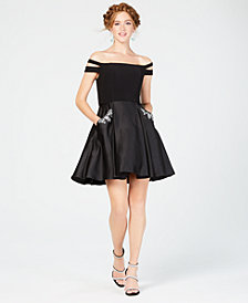 Blondie Nites Juniors' Off-The-Shoulder Fit & Flare Dress