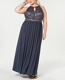 Trendy Plus Size Lace-Bodice Gown