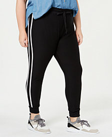Planet Gold Trendy Plus Size Striped Jogger Pants