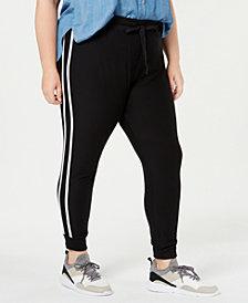 Planet Gold Trendy Plus Size Striped Jogger Pants