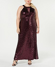Trendy Plus Size Sequined Halter Gown