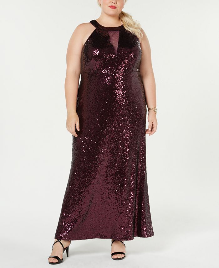 Morgan & Company - Trendy Plus Size Sequined Halter Gown