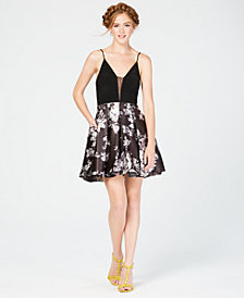 Blondie Nites Juniors' Deep-V Solid & Floral Fit & Flare Dress