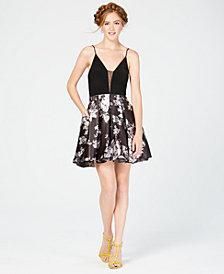 195036880f6 Blondie Nites Juniors  Deep-V Solid   Floral Fit   Flare Dress