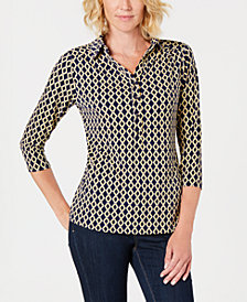 Charter Club Floral-Print V-Neck Polo Shirt, Created for Macy's