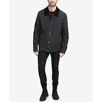 Cole Haan Signature Men's City Rain Barn Jacket with Corduroy Collar
