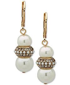 Anne Klein Gold-Tone Pavé Bead & Imitation Pearl Drop Earrings