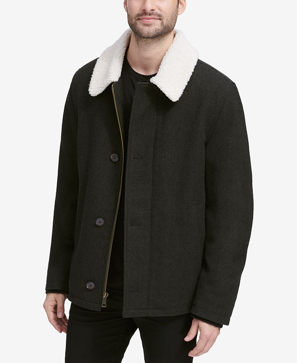 Cole Haan Men's Coat with Fleece Collar