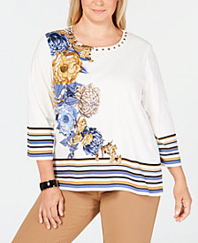 Alfred Dunner Plus Size Classics Floral-Print Striped Top