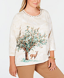 Alfred Dunner Plus Size Classics Embellished Deer-Print Top