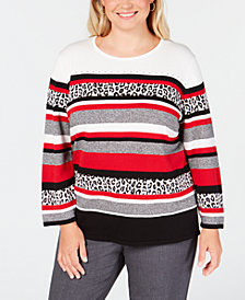 Alfred Dunner Plus Size Sutton Place Animal-Print Striped Sweater
